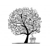 Five Degrees Tutoring Logo Black and White Tree